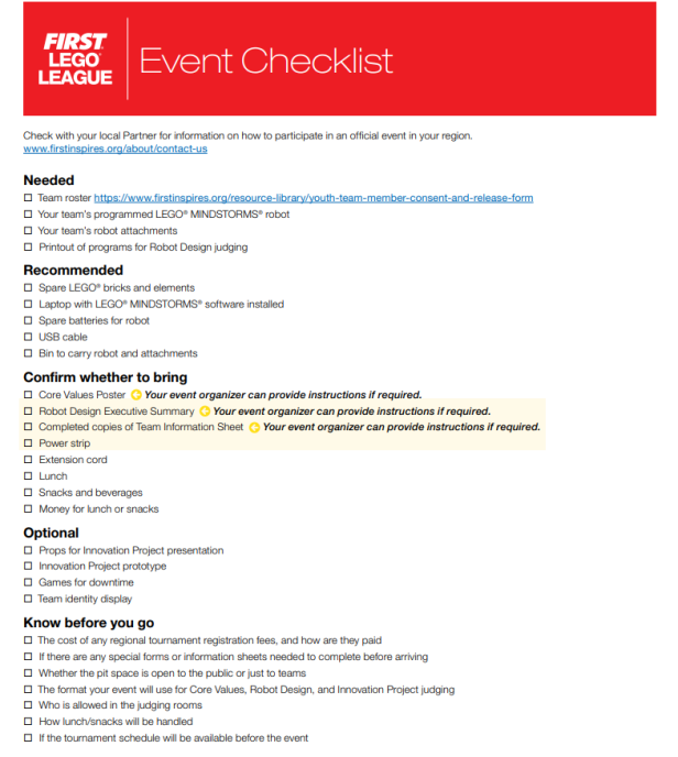 first-lego-league-event-checklist